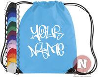 Drawstring PE school book bag Personalised Hi-top sneaker trainer shoe kit bag