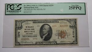 $10 1929 Millville New Jersey NJ National Currency Bank Note Bill #1270 VF! PCGS