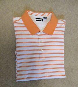 Men's PING Orange Striped Golf Knit Shirt - Short Sleeve - Size XL