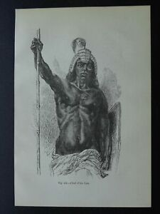 Africa Egypt LIRA TRIBE CHIEF Original Victorian Print by Figuier c1893