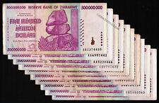 10 x 500 Million Zimbabwe Dollars Banknotes AA AB 2008 Circulated 10PCS