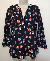 Pixley Small Tunic Blouse Navy Blue & Orange Floral 3/4 Sleeve V-Neck Retro Top