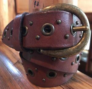 Fossil Women's Brown Leather Studded Belt w/Brass Buckle Size S #BT229120001