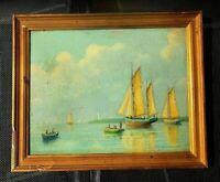 Tableau ancien  P.J MEULENAERE Huile Marine bord de mer animé pêcheurs bateaux