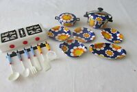 Vintage French 9 Piece Childrens Childs Metal Funky Kids Cookware Set c1970s