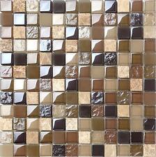 1 SQ M Brown Green Stone Glass Rough Smooth Bathroom Mosaic Wall Tiles 0050