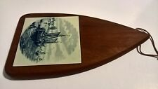 Quality Dutch wood & delft blue white tile cheese cutting serving board Holland