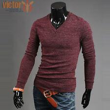 Mens Winter Long Sleeve V Neck Sweater Sweatshirt Jumper Slim Fit Pullover Tops