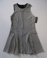 NWT LAUREN Ralph Lauren Houndstooth Print Sleeveless Flare Skater Dress L $165