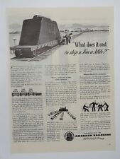 Original Print Ad 1945 AMERICAN RAILROADS What Does It Cost to Ship Ton a Mile