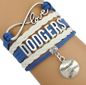 WHOLESALE LOT of 10 Los Angeles Dodgers Baseball Infinity Bracelets