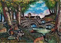 Quadro Moderno Dipinto Olio su tela firmato Piacentini, Paesaggio figure e fiume
