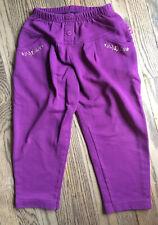 Osh Kosh Girl's Sz 5 Joggers Purple Sweat Pants Floral Embroidery Pockets