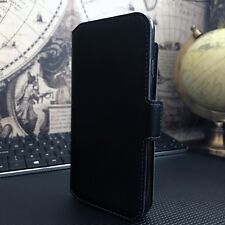 ION  Designer Low Profile Real  Leather Wallet Book Case Black Sony Xperia XZ3
