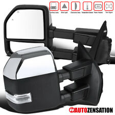 2017-2019 F250 Chrome Power Heated Tow Mirrors+Temp+Clear LED Signal+Blind Spot