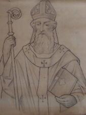 """Alte Zeichnung um 1900 """" Hl. Erzbischof """" 24 Entwurf Kirchenfenster Luxembourg"""