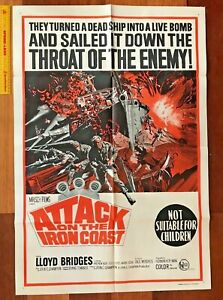 VINTAGE 1968 ORIGINAL ONE-SHEET MOVIE POSTER ATTACK ON THE IRON COAST WWII AUST!