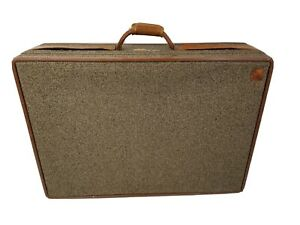 """Vintage Hartmann Leather and Tweed Travel Suitcase Luggage - 29"""" x 21"""" x 8.5"""""""