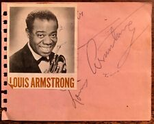 LOUIS ARMSTRONG & VICTOR MATURE Dual AUTOGRAPHED SIGNED ALBUM PAGE 1940's SACHMO