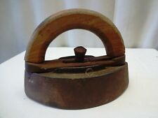 Antique Cloth Irons With Wooden Handle Cast Sad Irons Heavy Rare Collectibles *