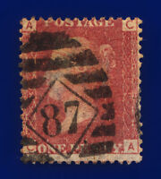 1873 SG43 1d Red Plate 169 CA Misperf London Diamond 87 Clear Pl # Cat £9 crra