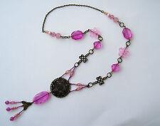 Halskette,Kette,Damen,Mädchen,Metall,Perlen,Glas,Mix,Rosa,Pink,bronze, 48 cm