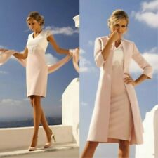 2PCS Mother Of The Bride/Groom Dresses Knee Length V Neck With Jackets Outfits