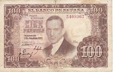 BILLETE DE ESPAÑA DE 100 PTAS DEL AÑO 1953 SIN SERIE CALIDAD BC  ROMERO TORRES