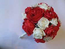 Wedding Bouquet in Ivory and Red with Pearls and Diamante