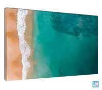 Lapping Waves Green Seascape Vertical Sand Seafoam Canvas Print Wall Art Picture