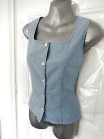 ❤ Vintage LAURA ASHLEY Size 8 Blue Denim Style Sleeveless Blouse Top Button Up