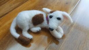 White Dog Laying Needle Felted Unique Handmade Animal Red-Pinapple Gift Present