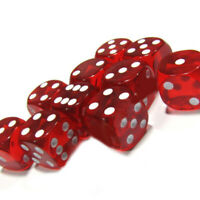 Set Of 10, Six Sided Square Opaque 16mm D6 Dice Red With White Pips Dice