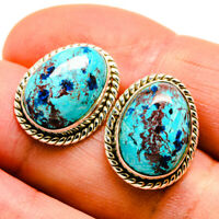 "Shattuckite 925 Sterling Silver Earrings 3/4"" Ana Co Jewelry E408851F"