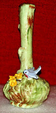Bluebird & Flowers Small Glazed Hand Painted Vase/1956 Signed by Artist