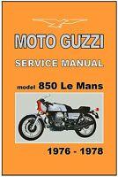 MOTO GUZZI Workshop Manual Le Mans LeMans MKI 850 1976 1977 1978 FACTORY Service