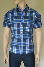 NEW Abercrombie & Fitch Cooper Kiln Shirt Navy Blue Plaid Check L RRP £82