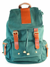 GREEN Canvas Backpack School Bag Upgraded Version Super Stylish! COOL!