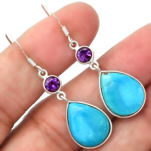 Rare Turquoise Nevada Aztec Mt and Amethyst 925 Silver Earrings Jewelry 0985