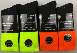 12 Pairs Hi Vis Safety Boot Cushioned Cotton Work Socks Extra Thick Breathable