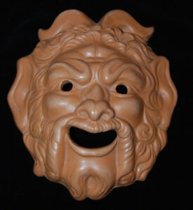 "Pottery Mask Greek  - Wall Decor - 1964 - 9"" x 7"""