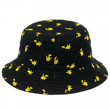 Mens Womens NWT Pokemon Pikachu All Over Print Black Bucket Hat One Size