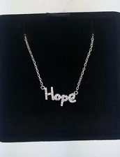 Sterling Silver Cursive 'Hope' Diamond Pendant Necklace Chain 17""