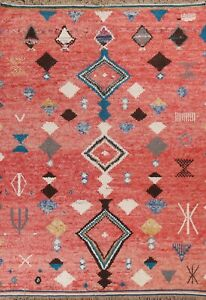 Geometric Moroccan Oriental Area Rug Hand-knotted Wool Living Room Carpet 8'x11'