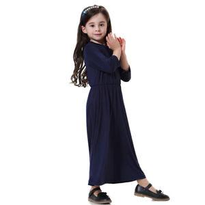 Muslim ChildGirls Abaya Modest Costume Prayer Long Loose Robe Islamic Maxi Dress