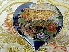 Vintage Japan (Sticker) Peacock Cobalt Heart Shape Trinket Box Outstretched Tail