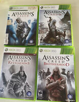 Lot of 4 XBOX 360 Video Games Assassins Creed 1,3,Brotherhood,Revelations Tested
