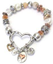 Beaded Heart Stretch Dangle Bracelet Multiple Beads