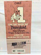 Disneyland Child Ticket 1990 Passport