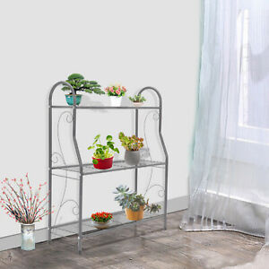 3 Tier Outdoor Metal Plant Stand Flower Planter Garden Display Holder Shelf Rack